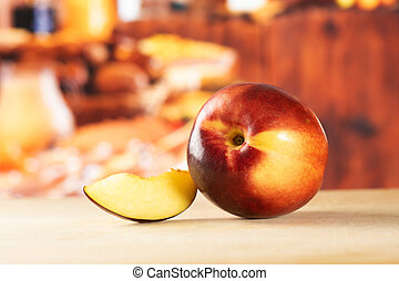 Ripe deep red nectarine