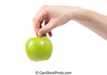 Ripe delicious juicy green apple in hand isolated on white background. Healthy eating and dieting concept