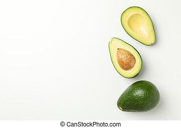 Ripe fresh avocado on white background, top view