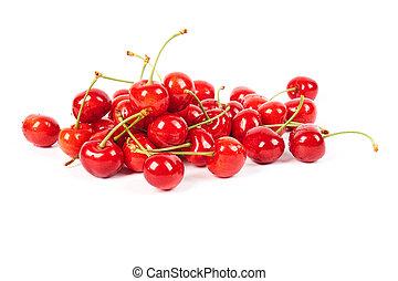 Ripe fresh cherries isolated on white background