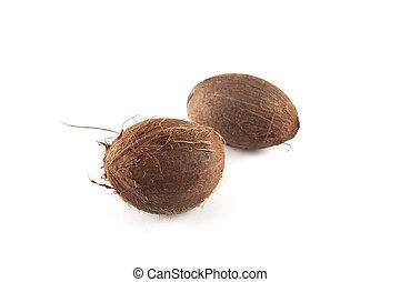 Ripe fresh coconut isolated on white
