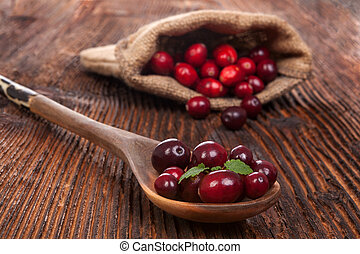 Ripe fresh cranberries - Ripe delicious cranberries in...