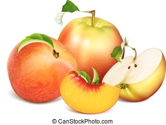 Ripe fresh fruits. Apples and peaches. Fully editable...