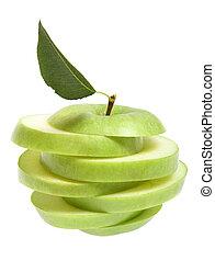 Ripe fresh green apple cut with leaf