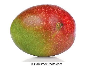 Ripe fresh mango on a white background