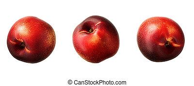 Ripe fresh nectarine peach isolated on white background