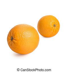 Ripe, fresh oranges isolated on white background.