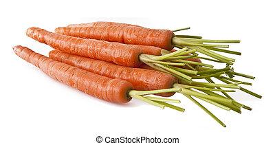 Ripe fresh organic carrots on white