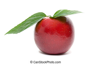 ripe fresh red apple with leaves