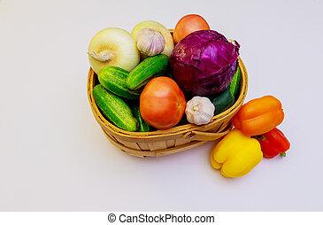 ripe fresh vegetables close-up White background