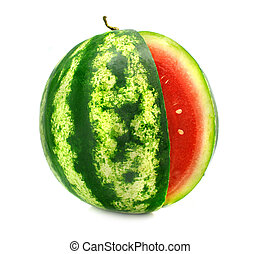 ripe fruit water-melon with cut is isolated on white...