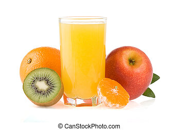 ripe fruits and juice in glass