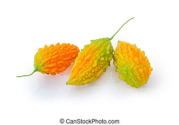 Ripe fruits of momordica on a white background