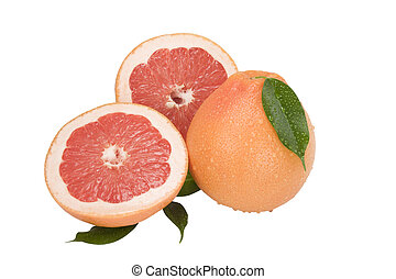 Ripe grapefruit with drops of dew and slice of Grapefruit with leaves isolated on white background