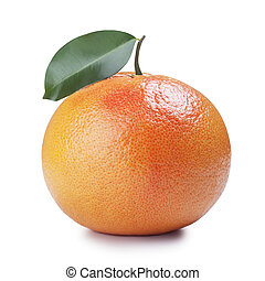 Ripe grapefruit with leaf, isolated over white