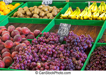 Ripe grapes at local market in Greece.