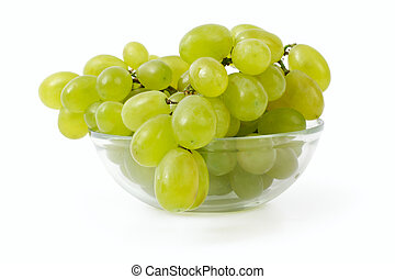 ripe grapes in a glass bowl on a white background