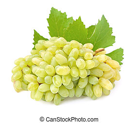 Ripe grapes with leaves