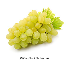Ripe grapes with leaves.