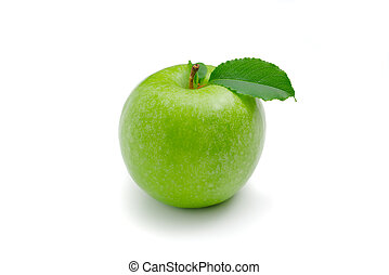 Ripe green apple with leaf on a white background .
