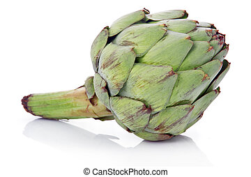 Ripe green artichoke vegetable isolated on white background
