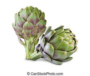 artichoke - Ripe green artichokes isolated on white...