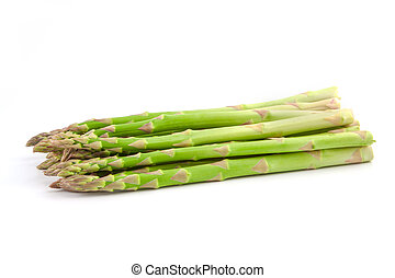 ripe green asparagus on a white background