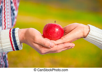 ripe juicy apple in the hands of a loving couple close-up