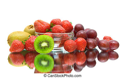 ripe juicy berries on a white background with reflection