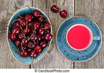 Ripe Juicy Cherries with Compote
