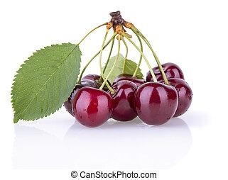ripe juicy cherries with leaves