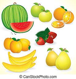Ripe Juicy Fruits, set of detailed icons