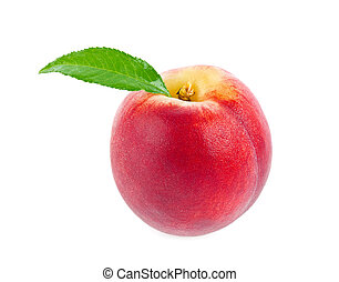 Ripe juicy peach with green leaf