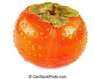 Ripe juicy persimmon with drops of water on the peel is isolated on a white background.