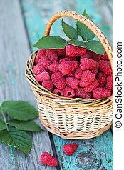 raspberries in a wicker basket