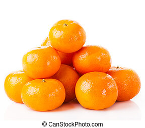 ripe juicy tangerine on a white background. Clementine Mandarin Oranges