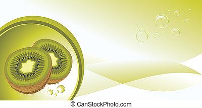 Ripe kiwi fruit on the abstract background. Vector illustration
