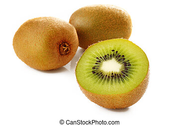 Ripe kiwi fruit on white