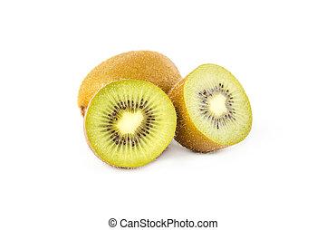 Ripe kiwi fruits with half on white background