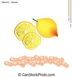 Ripe Lemon with Vitamin C on White Background