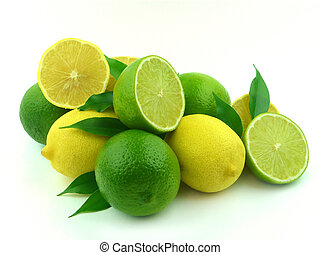 Ripe lemons and lime with leaflets on a white background