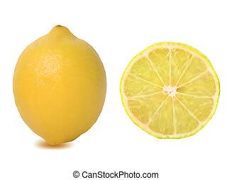 Ripe lemons isolated on white. Vector