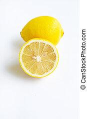 Ripe lemons on white background.