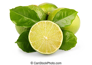 Ripe lime fruits with green leaves isolated
