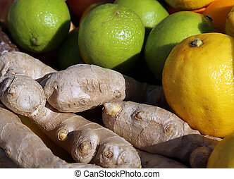 lime green and lemon yellow and ginger root for sale