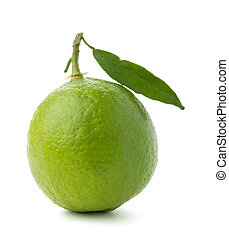 Ripe lime with green leaf. Isolated on white