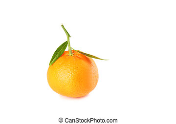 Ripe mandarin isolated on a white background