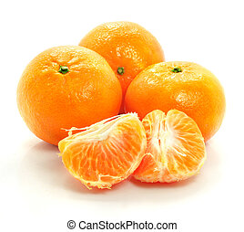 ripe mandarine fruit isolated food on white background