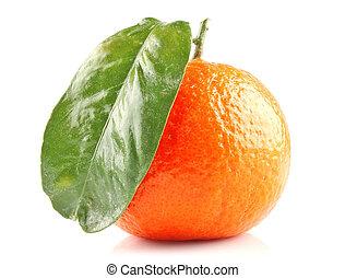 Ripe mandarine - Ripe orange mandarine fruit with green...