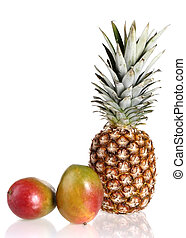 ripe mango and pineapple on white background